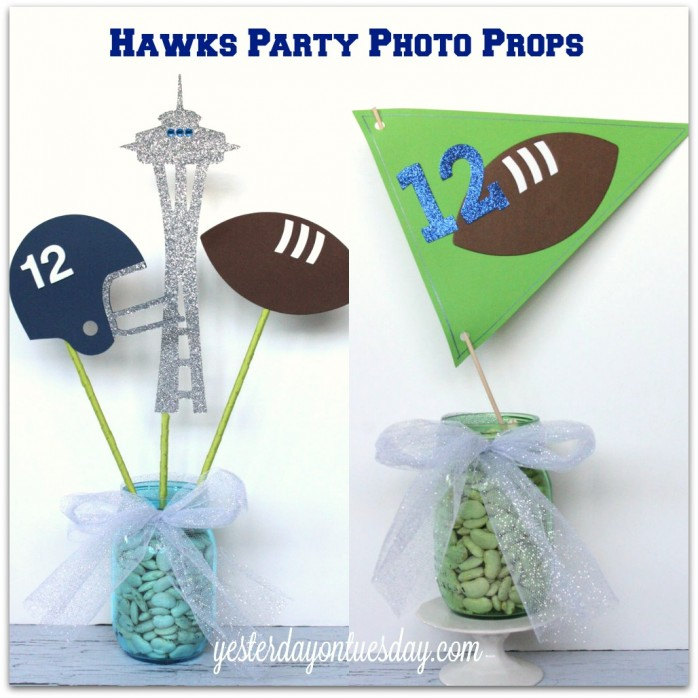 DIY Hawks Party Photo Props #seahawks