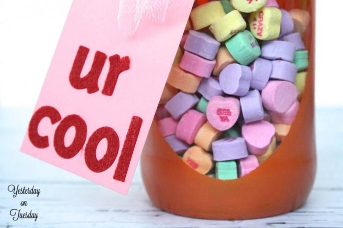 Valentine Conversation Hearts Mason Jar Gift Idea from http://yesterdayontuesday.com