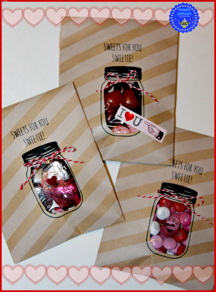 Mason Jar Valentine Treat Bags from Hooplapalopooza