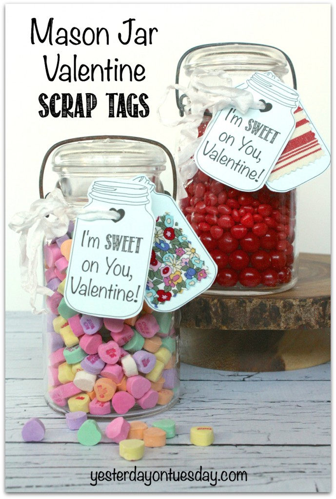 Mason Jar Valentine Scrap Tags #masonjars #scraps #valentinesday