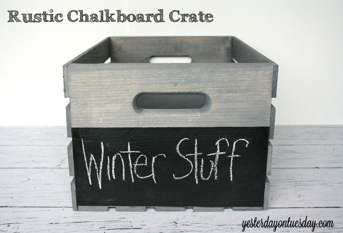 Take a plain wood crate and  make it a rustic storage solution from http://yesterdayontuesday.com #organizing #chalkboard