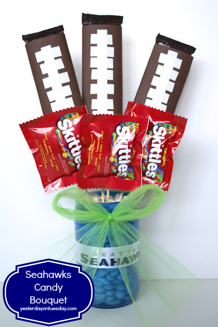 Seahawks Candy Bouquet from http://yesterdayontuesday.com #seahawkscrafts #seahawks #masonjars