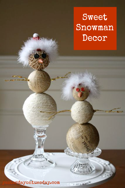 Sweet and Rustic Snowman Decor from http://yesterdayontuesday.com