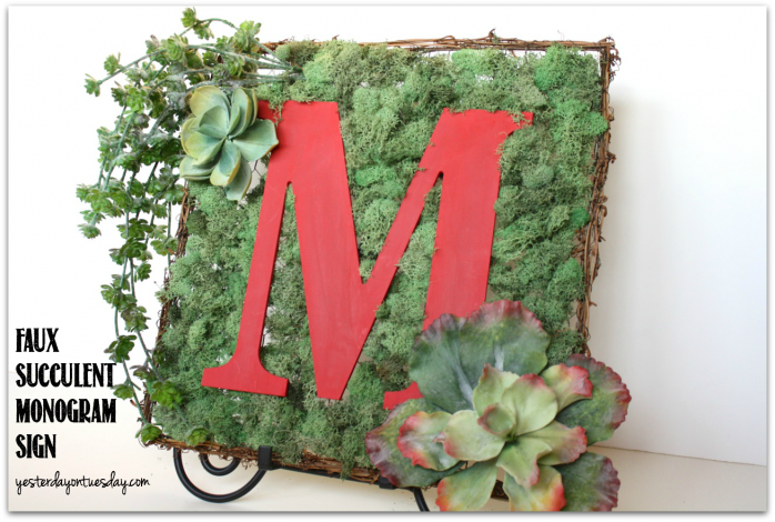 Add curb appeal with this Faux Succulent Monogram Sign