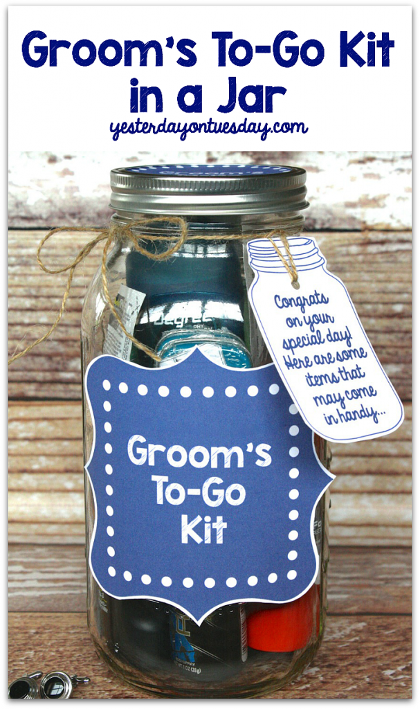 Groom's To Go Kit in a Mason Jar with printables. This jar is packed with band aids, breath mints and any last minute items a groom may need!