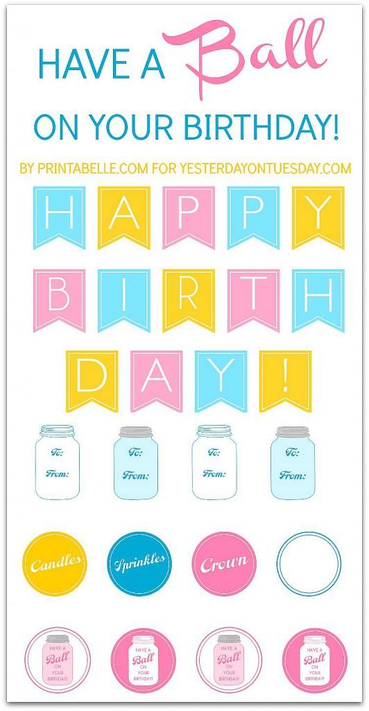 Birthday Mason Jar Printables including a banner, gift tags, labels and more #masonjars #birthday