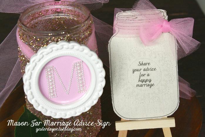 Glitter Mason Jar Tutorial and printable Mason Jar wedding sign and marriage advice cards