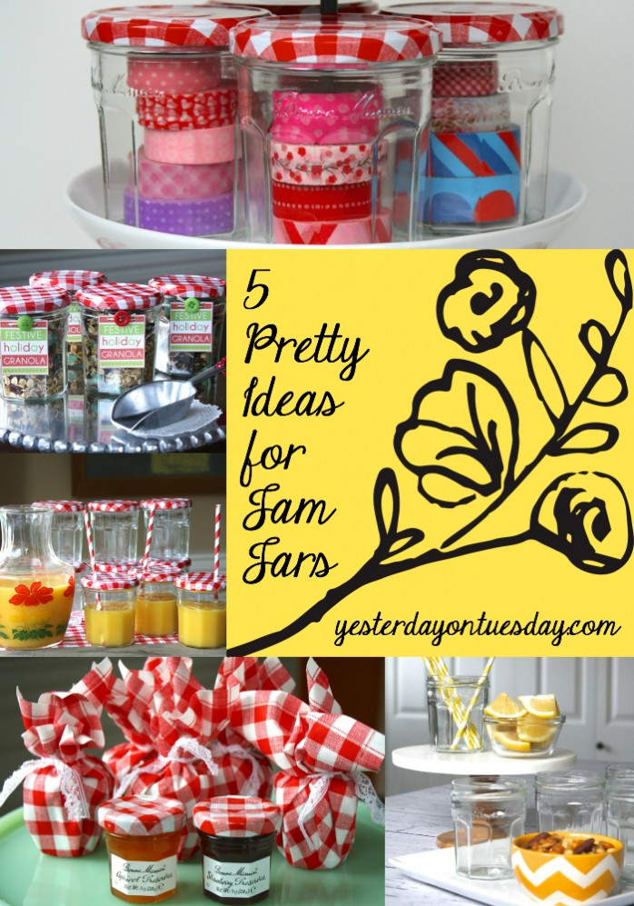 Save those glass jars and reuse them for organizing, entertaining and more from https://yesterdayontuesday.com #glassjars