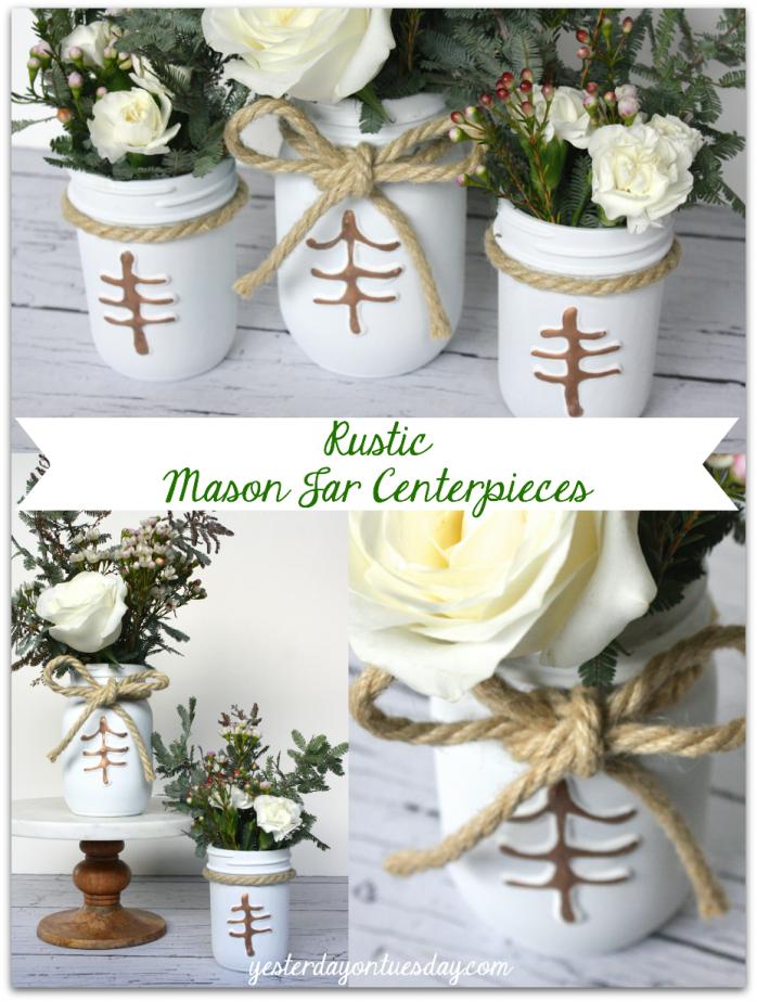 Rustic Mason Jar Centerpieces perfect for wedding receptions #masonjars #wedding