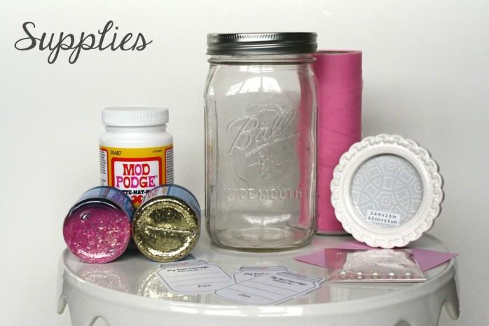 Glitter Mason Jar and printable Marriage Advice Cards