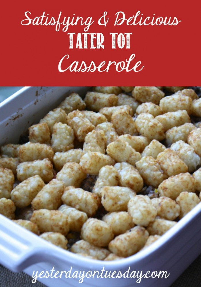 Delicious Tater Tot Casserole Recipe, kids love this dinner! #casserole