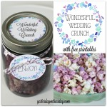 Recipe for delicious Wonderful Wedding Crunch in a Mason Jar plus free printables to make your own