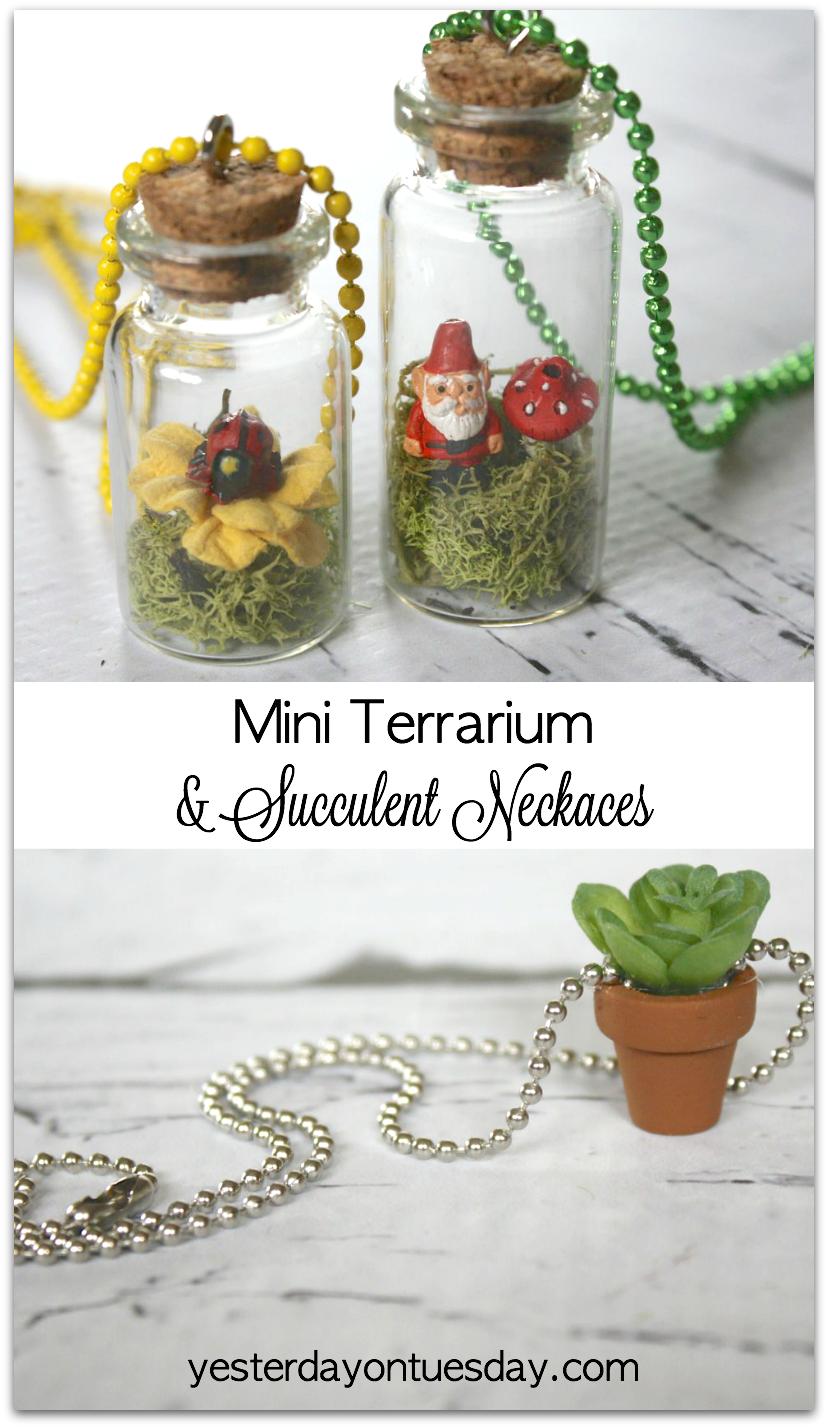Mini Terrarium and Succulent Necklaces