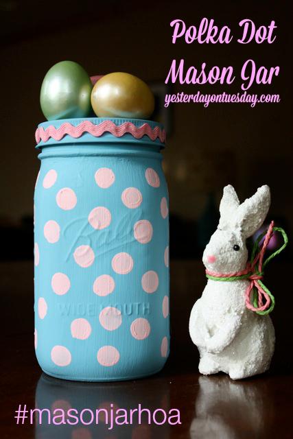 Polka Dot Mason Jar for Easter
