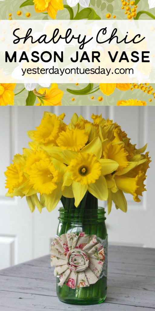 Shabby Chic Mason Jar Vase