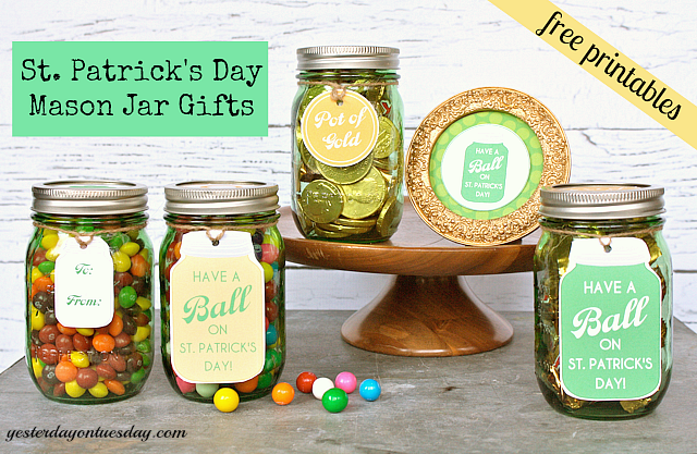 St. Patrick's Day Mason Jar gifts with printables
