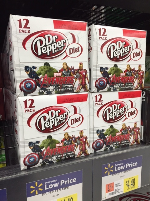 Close Up Dr. Pepper on Shelf