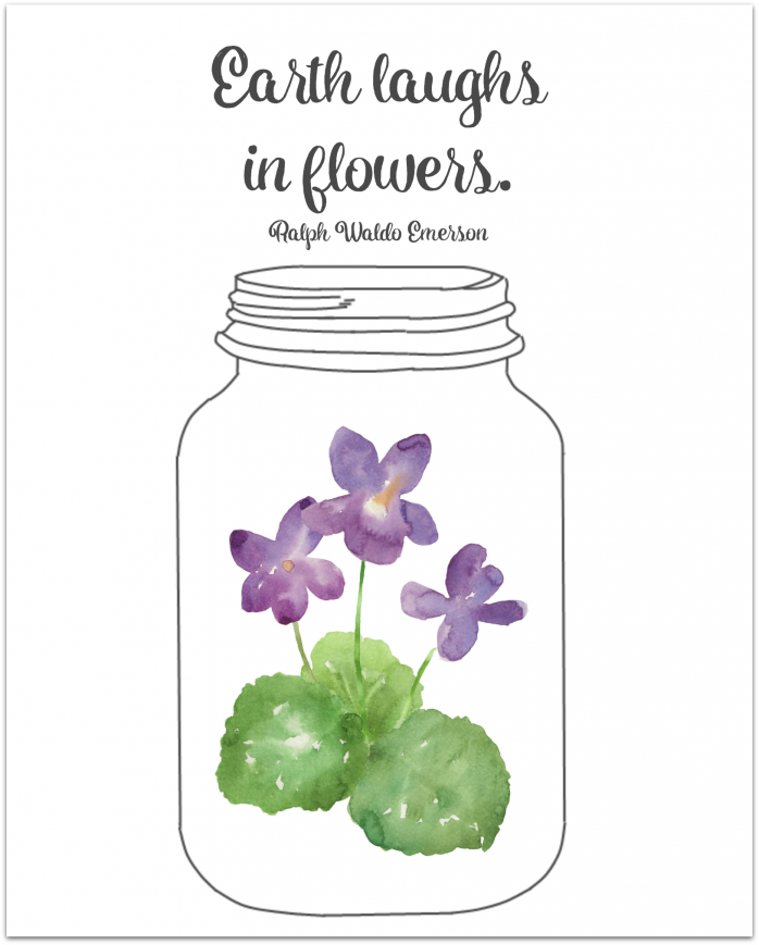 Earth laughs in flowers Mason Jar themed printable May Day Art and tags