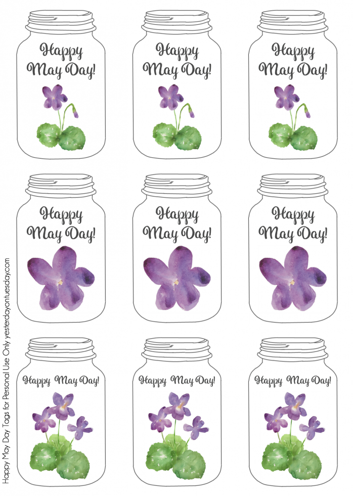 Mason Jar themed printable May Day Art  tags