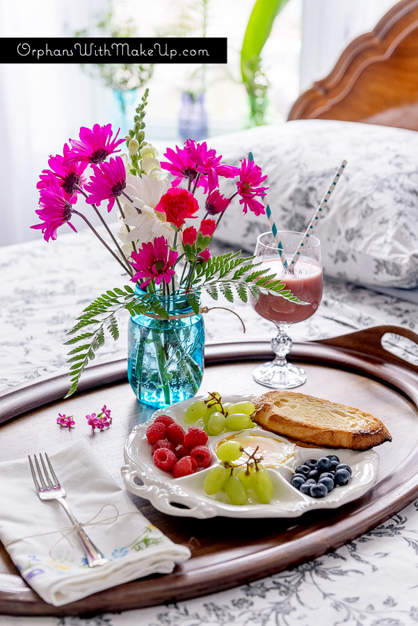 Mason Jar Breakfast in Bed Centerpiece by Orphans with Makeup