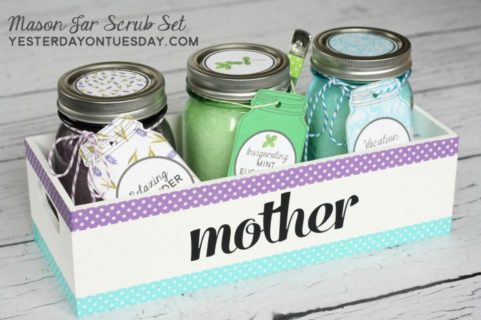 Lovely printable Mason Jar Tags and Lid Circles to coordinate with three easy and wonderful DIY scrubs that you can store in Mason Jars. Great give idea for Mom, the Grad, Teachers, Friends or Neighbors!