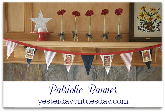 How to make a Patriotic Banner out of old jeans! A great recycle or upcycle project for Memorial Day and Fourth of July.