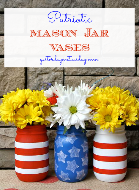 How to make Patriotic Mason Jar Vases, great for Memorial Day and 4th of July.
