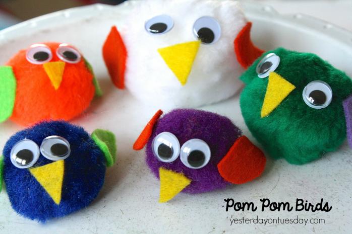 How to make pom pom birds, a cool kid's craft