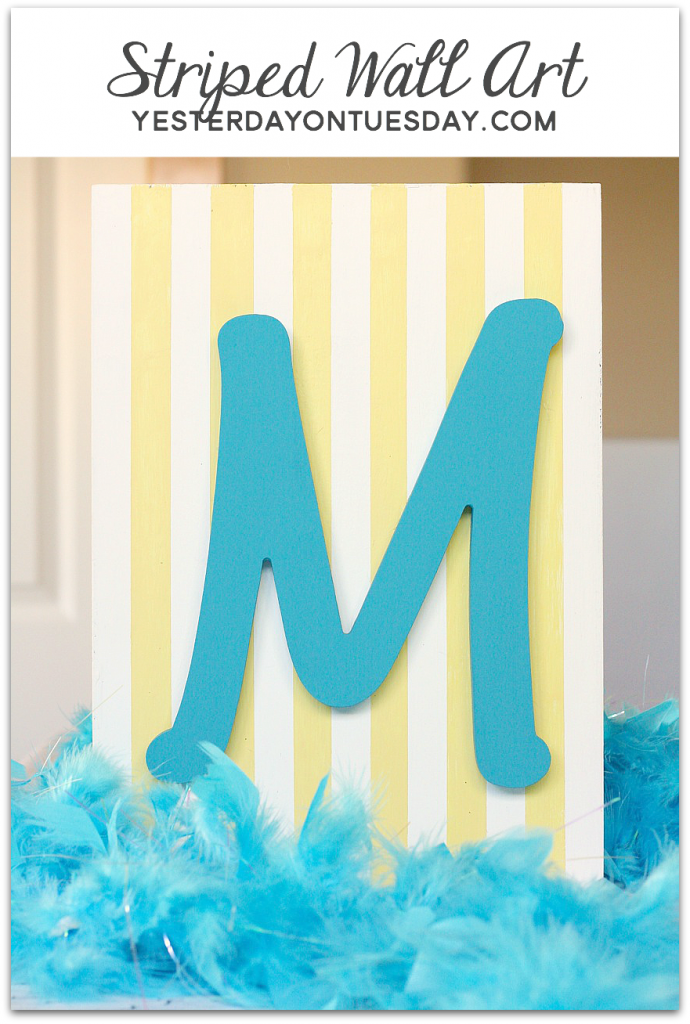 DIY Striped Wall Art with Americana Decor Chalky Finish Paint.