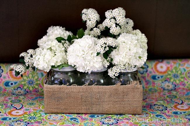Mason Jar Flower Display from Petticoat Junktion