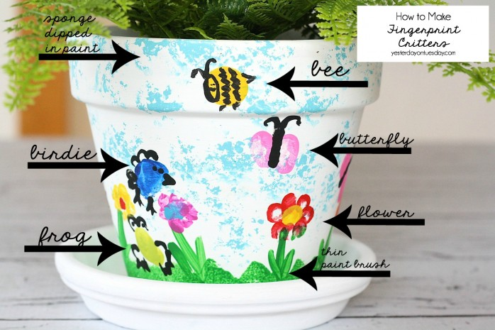 Fingerprint Flower Pot, a sweet and thoughtful Mother's Day Gift or Teacher Appreciation Gift  that kids can make.