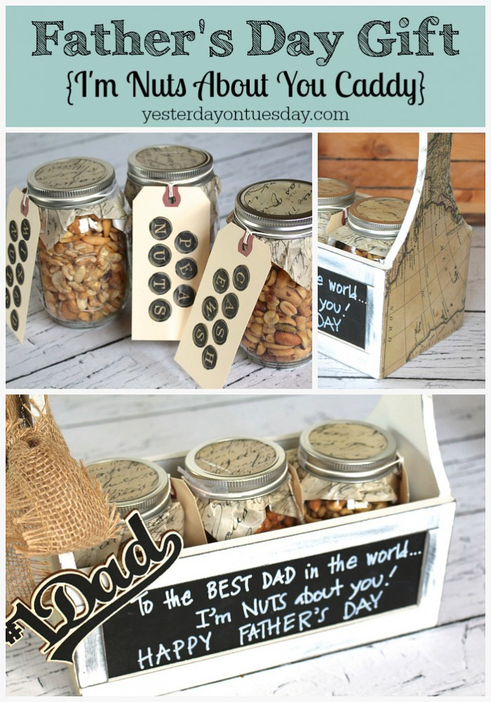 "Fun DIY Father's Day Gift idea, an ""I'm Nuts About You"" Caddy. A whimsical, thoughtful and useful present for Dad."
