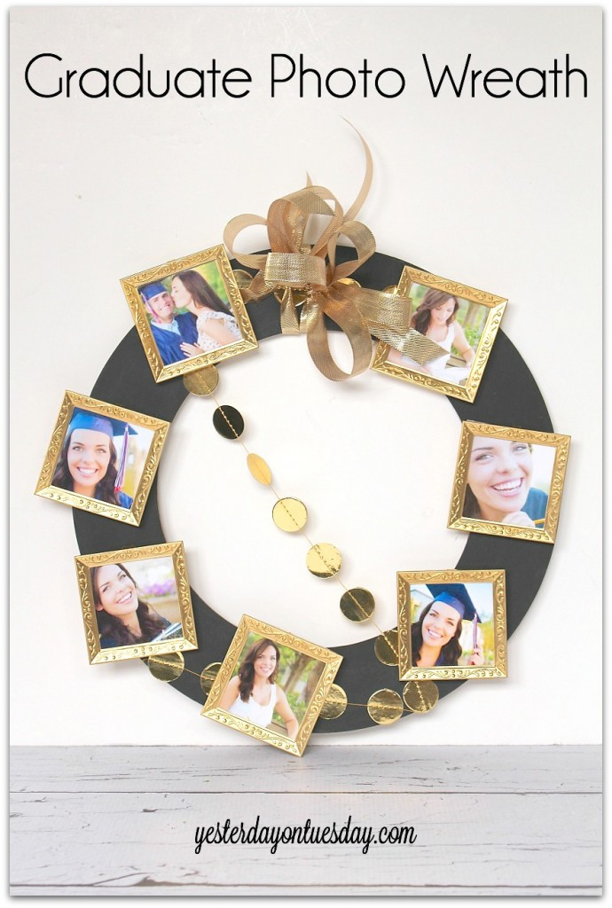 DIY Graduate Photo Wreath, great graduation party decor