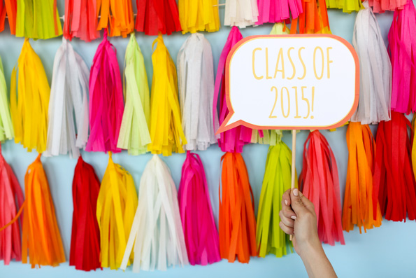How to Throw a Great Graduation Party with fun ideas like this Tassle Background.