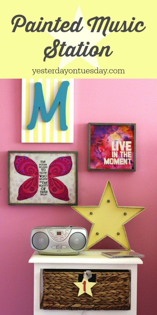 DIY Painted Music Station, a fun upcycled or recycled furniture projects for a tween girl's bedroom.