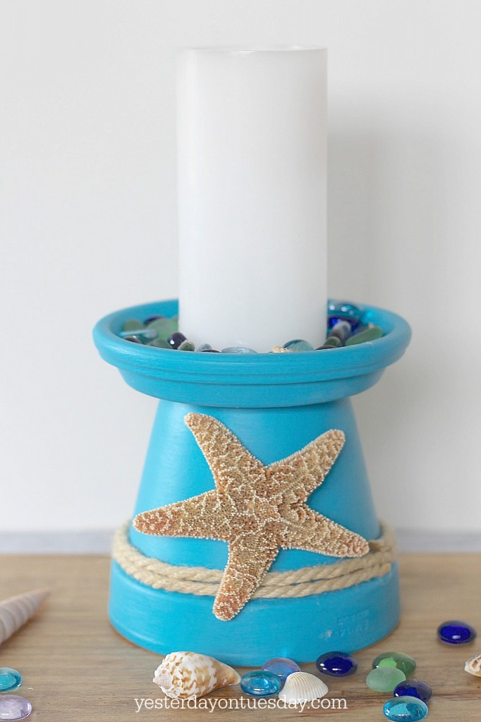 How to DIY a Starfish Candle Holder out of a flower pot. A easy beachy craft and decor project, plus lovely printable inspirational art.