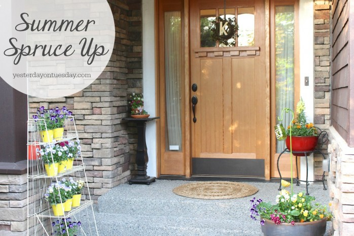 Summer Front Porch Spruce Up, using things you already have to create a lovely front porch area.