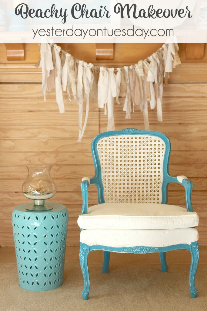 How to makeover a garage sale chair into a beautiful Beachy Chair. It's easy and the results are beautiful.