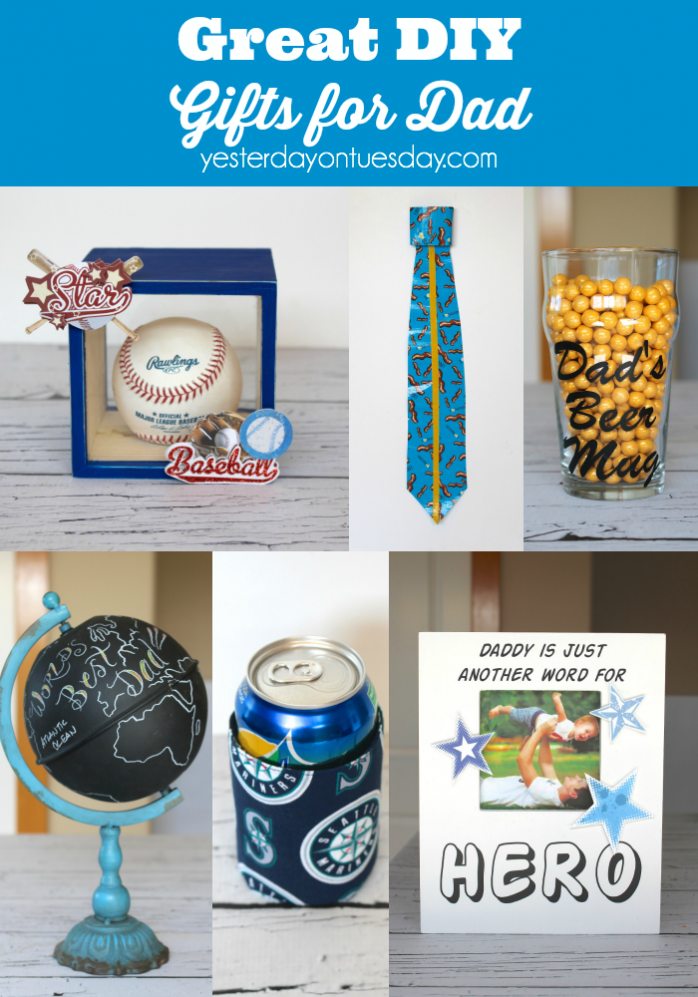Great DIY Gifts for Dad including a Duck Tape Tie, picture frame, Best Dad in the World Globe and more.