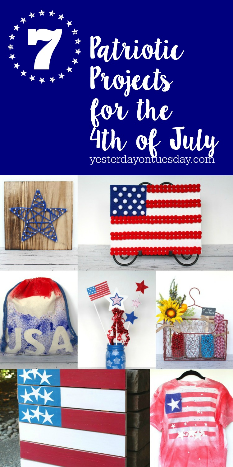 7 Patriotic Projects for the 4th of July from yarn art to a pom pom flag, a candy sack, hostess gift and more. Decor items and kid's crafts.