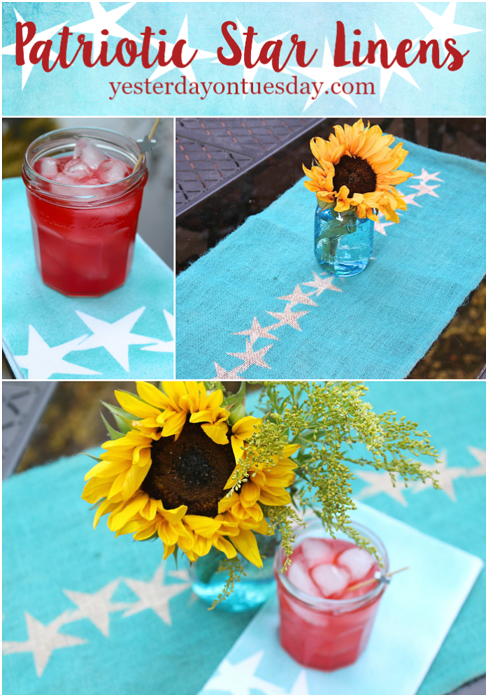 DIY Patriotic Star Linens: How to transform a plain burlap table runner and white cloth napkins into pretty patriotic linens, fun for 4th of July entertaining or barbecues.