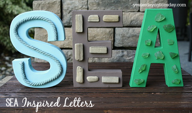 SEA Inspired Letter Decor, perfect for beachy decorating.