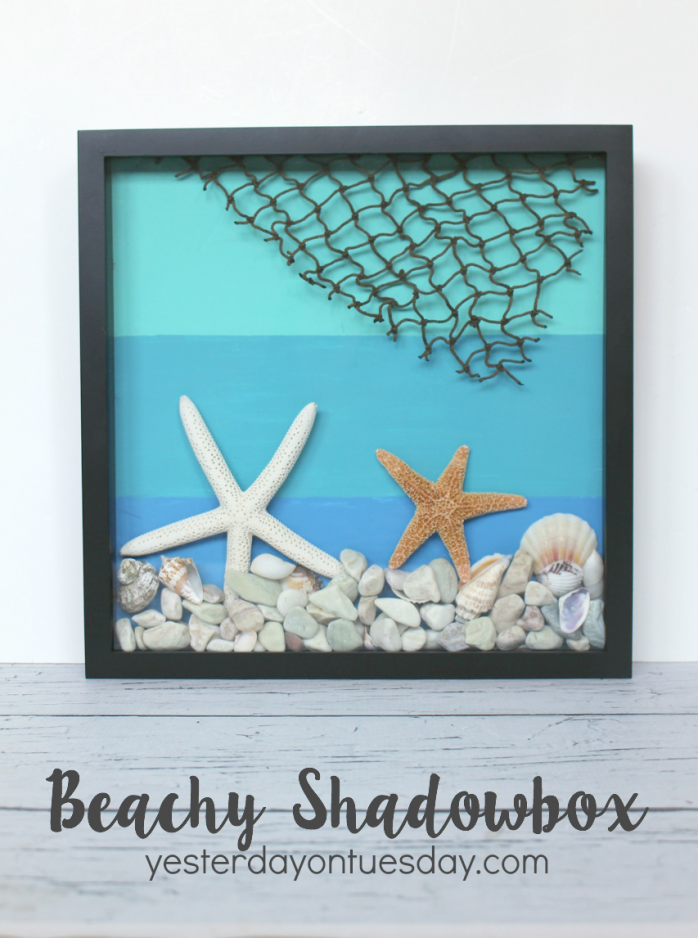 DIY Beachy Shadowbox, a great way to display summer treasures