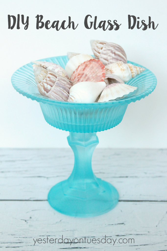 How to transform a plain glass bowl and candlestick holder into a DIY Beach Glass Dish.