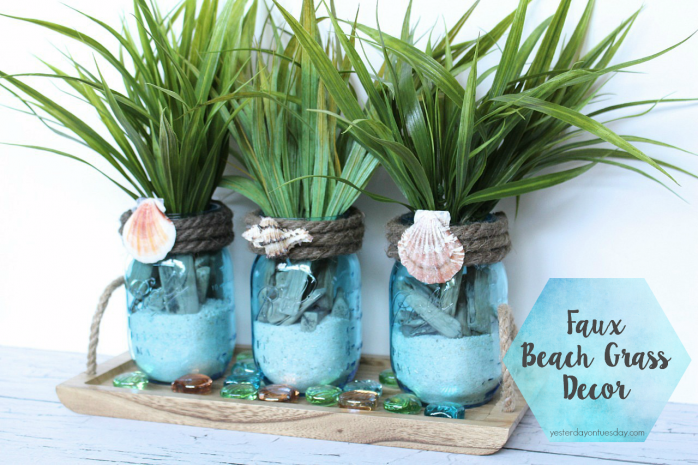 Faux Beach Grass Decor in Mason Jars