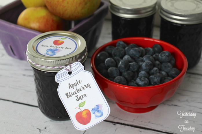 Apple-Blueberry Jam Recipe and printable tags and labels