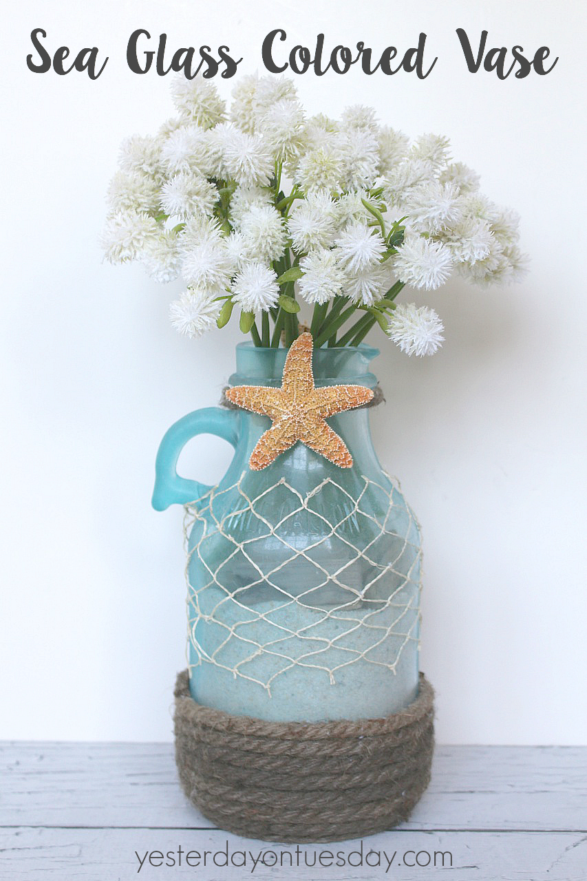 From Plain Glass Jug to Sea Glass Vase