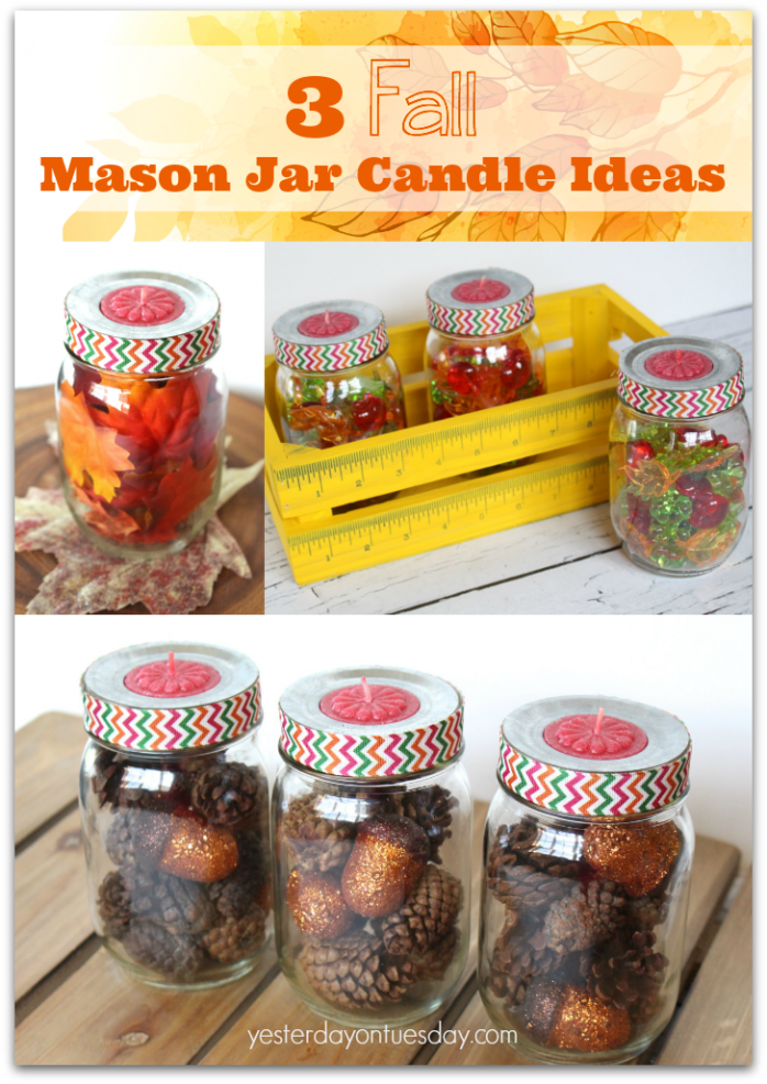 How to style mason jar candle holders three fun and different ways for fall! A quick and easy way to change up your fall decor.