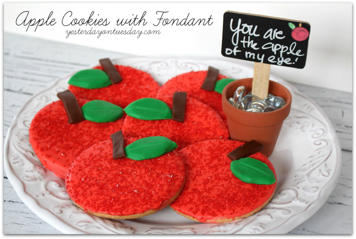 Apple Cookies with Fondant a fun treat for back to school!
