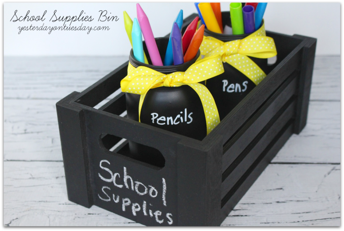 Keep library books and school supplies organized with this DIY Chalkboard Book Bin